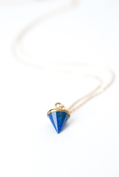 "Cleopatra 16-18"" Lapis Pyramid Bezel Necklace"