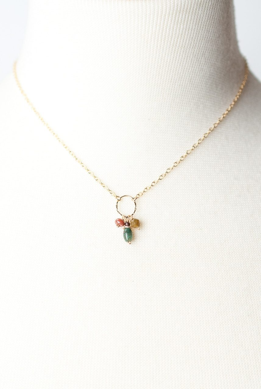 "Cornucopia 15-17"" Simple Gemstone Cluster Focal Necklace"
