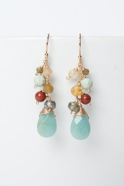 ***Cornucopia Simple Amazonite Cluster Dangle Earrings