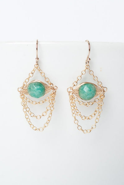 Cornucopia Amazonite Herringbone Chandelier Earrings