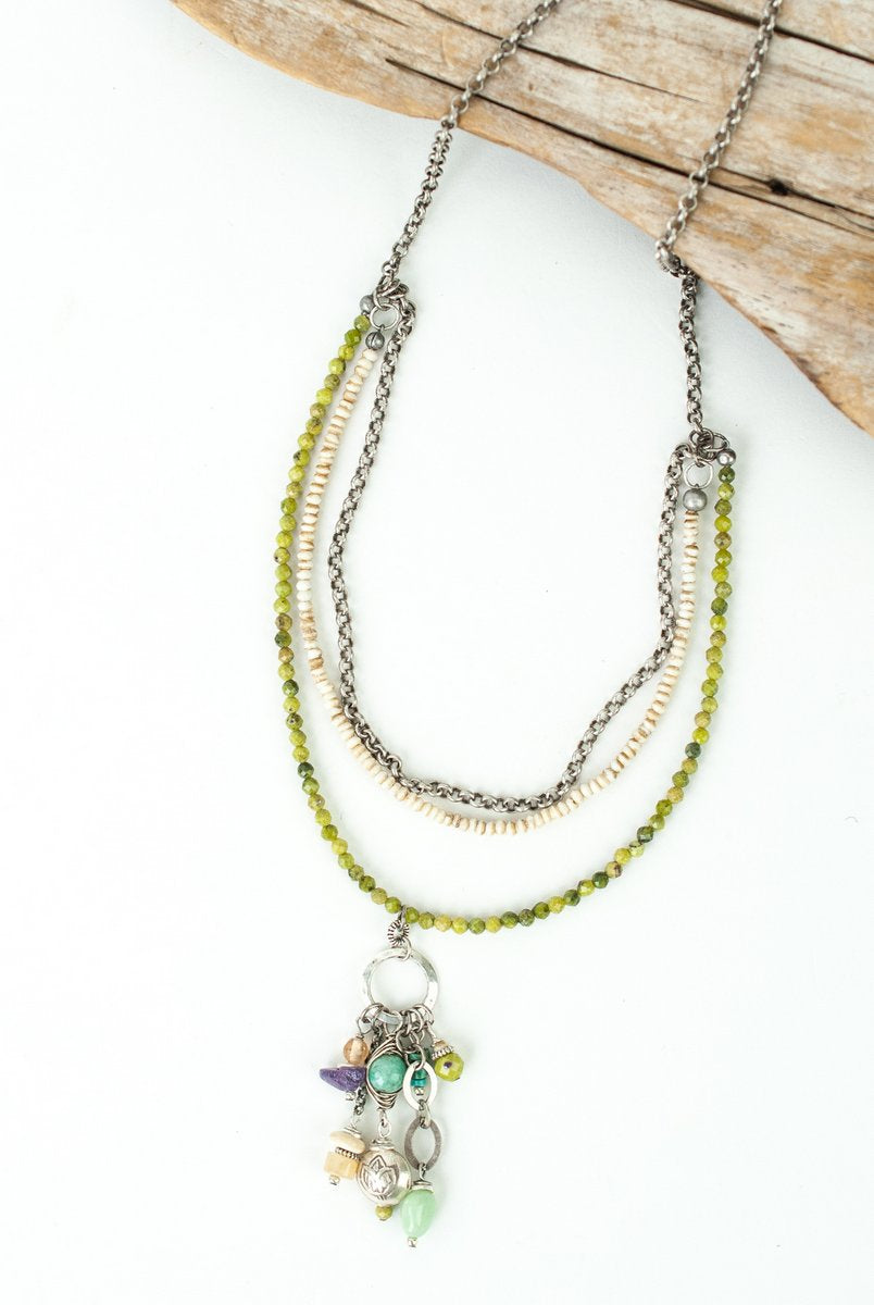 "*Creek Waters 18.5-20.5"" Olive Jade, Turquoise, Chrysophase Multistrand Tassel Necklace"