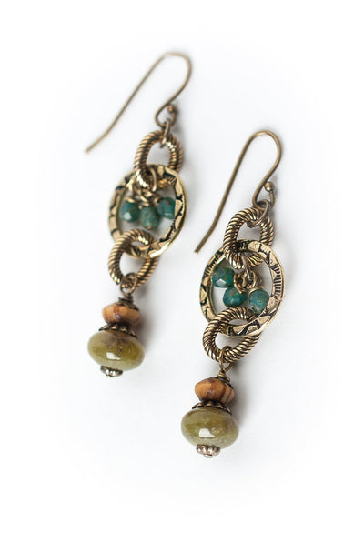 *Crisp Autumn Olive Jade Dangle Brass Hoop Earrings