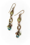 *Crisp Autumn Olive Jade Herringbone Dangle Earrings
