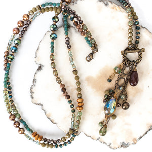"""Crisp Autumn 19"""" or 35.25"""" Pearl, Crystal, Czech Glass Transitional Necklace"""