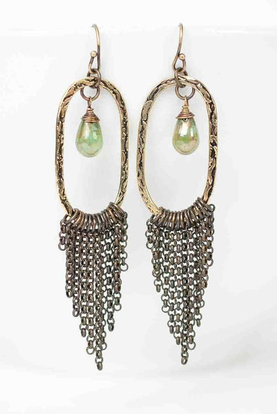 ***Crisp Autumn Antique Brass Hoop Tassel Earrings