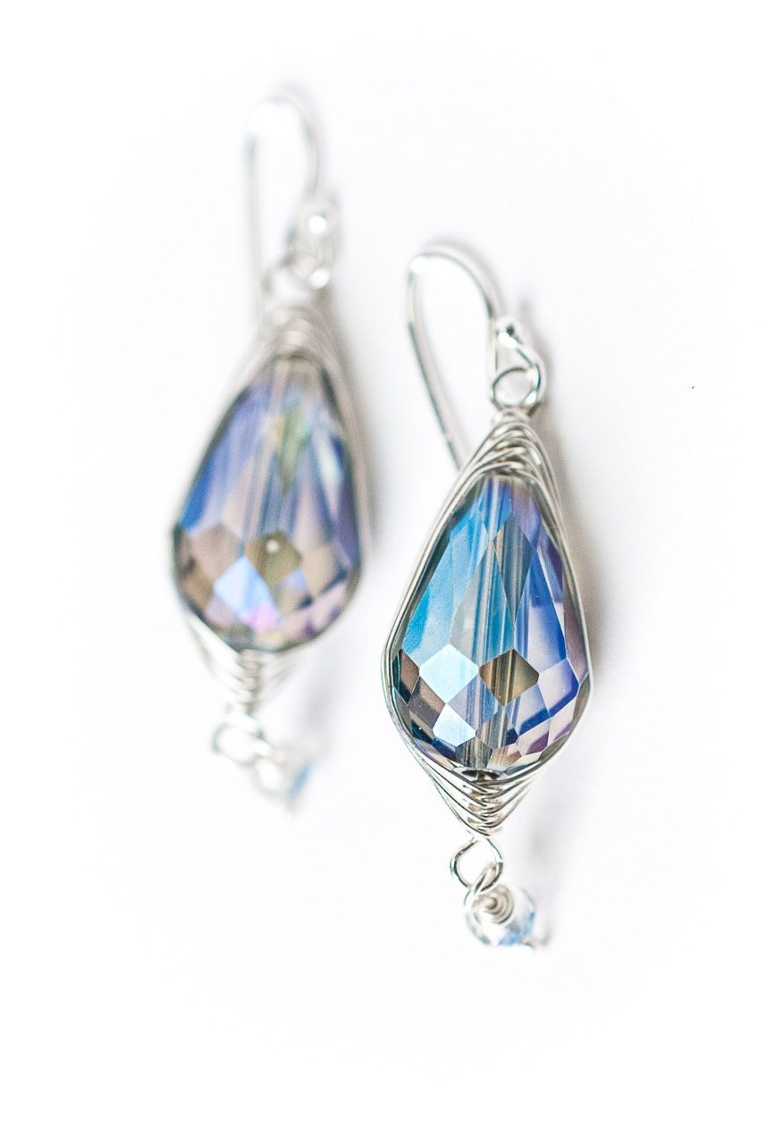 Herringbone Blue Oblong Crystal Earrings