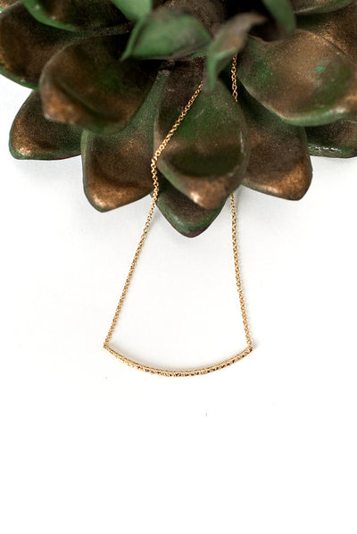 "Desert Rose 16.5-18.5"" Simple Gold Bar Necklace"