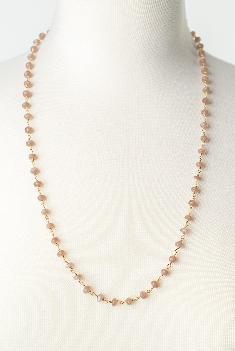 "Desert Rose 27-29"" Pink Moonstone Layer Necklace"