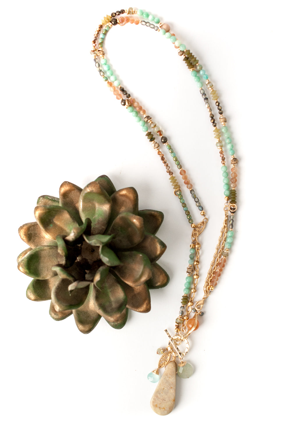"Desert Rose 37 or 19.75"" Convertible Tassel Collage Necklace"