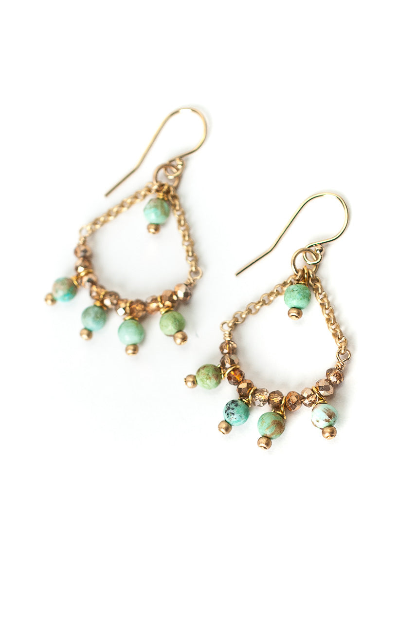Desert Rose Peruvian Turquoise & Crystal Chandelier Earrings