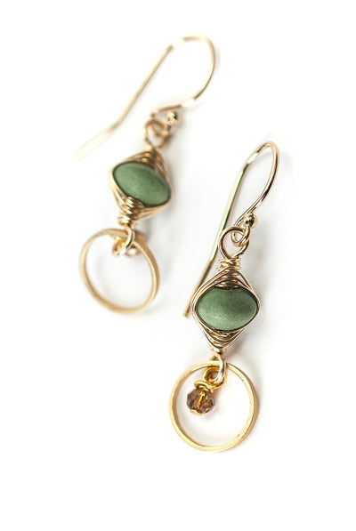 Desert Rose Magnesite Herringbone Earrings