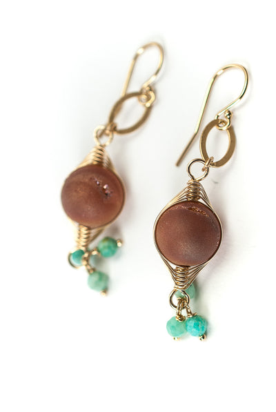 Desert Rose Druzi Herringbone Dangle Earrings
