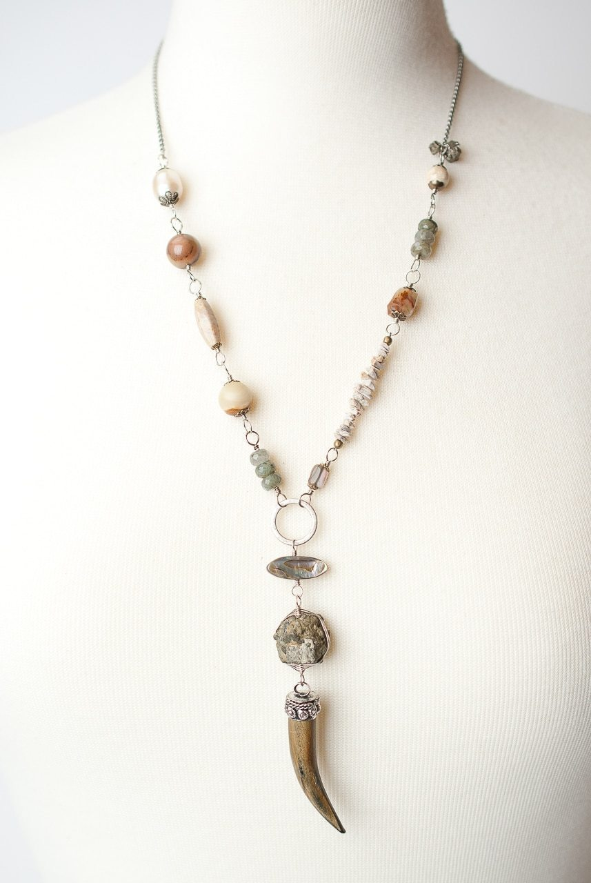 "Driftwood 24-26"" Claw Pendent Collage Necklace"