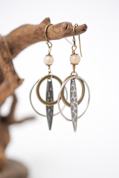 Driftwood Jasper & Mixed Metal Hoop Earrings