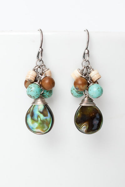 Driftwood Abalone Cluster Earrings