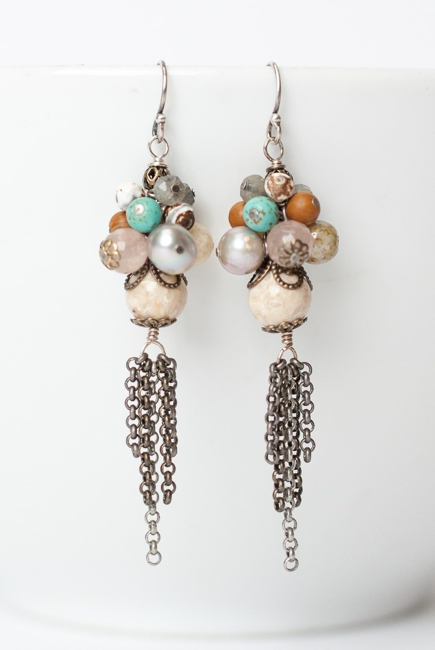Driftwood  Gemstone Cluster Tassel Earrings