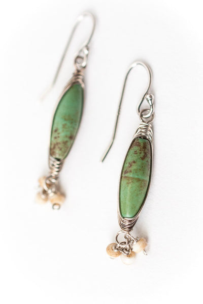 Driftwood Turquoise Herringbone Dangle Earrings