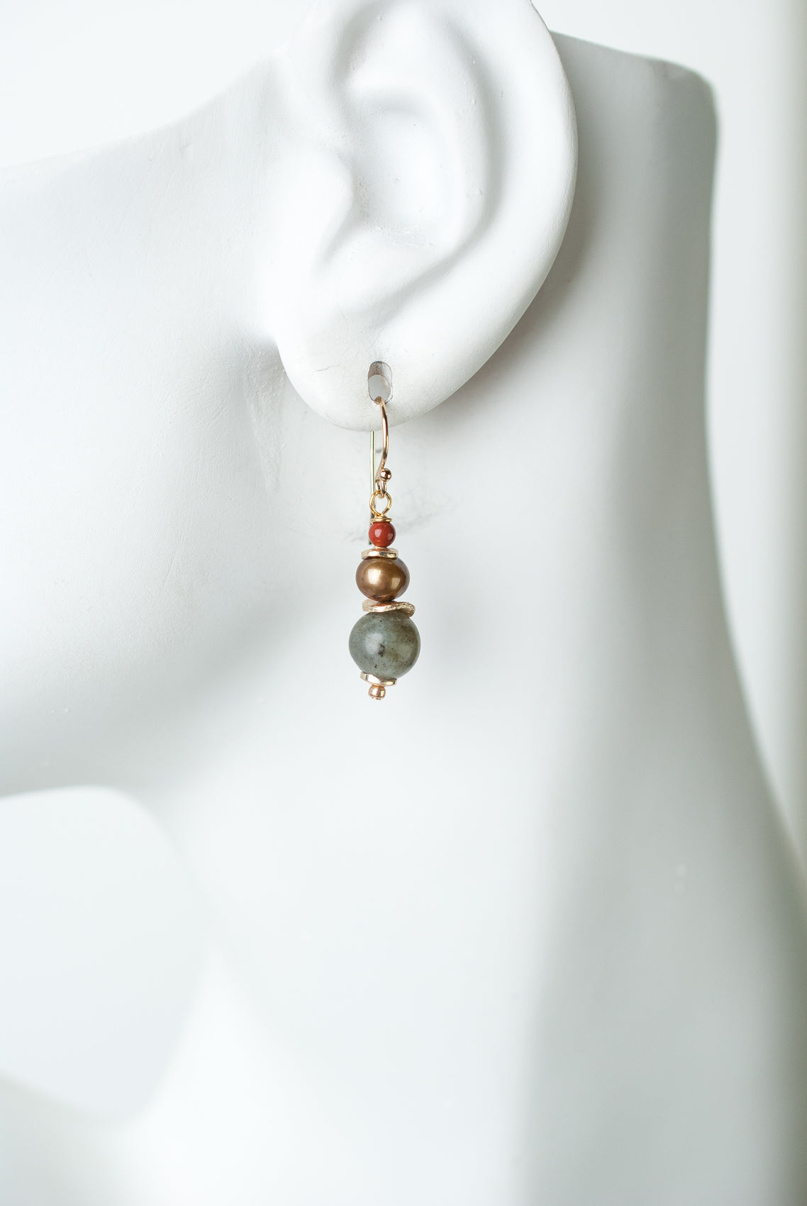 Earth Song Fresh Water Pearl, Red Jasper, Labradorite Dangle Earrings