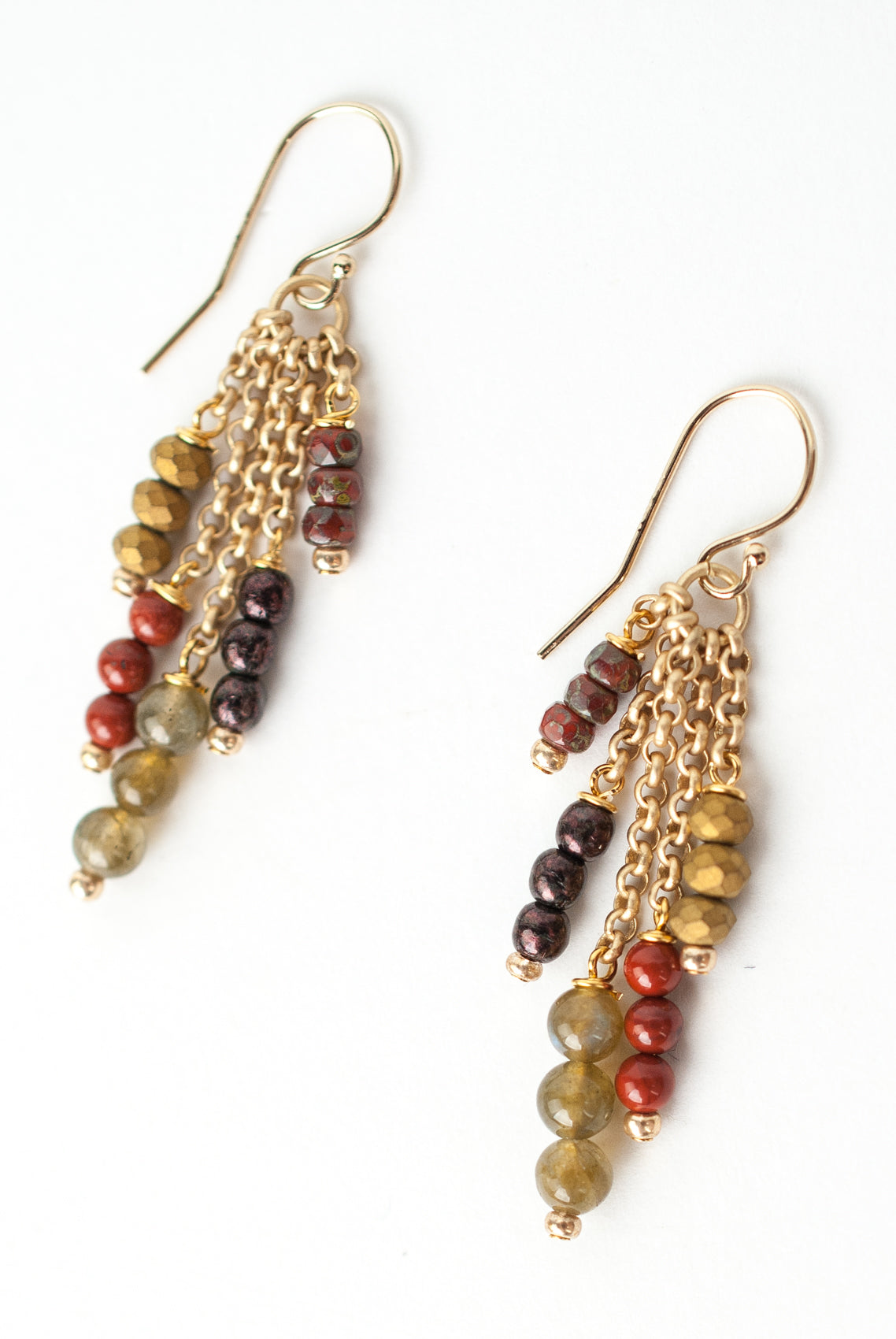Earth Song Labradorite, Red Jasper, Czech Glass Tassel Earrings
