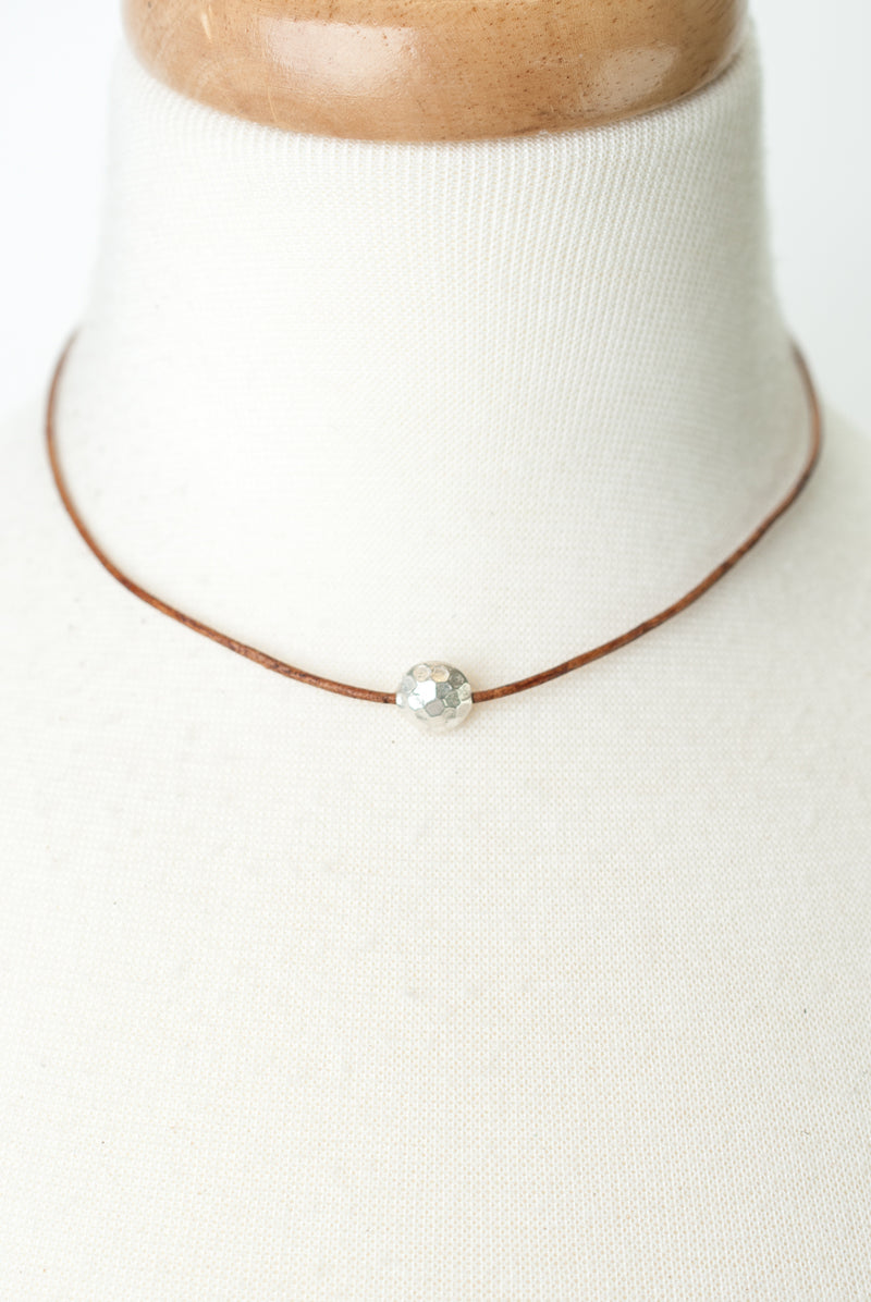 "Everyday 16-18"" Fine Silver Focal on Leather Simple Necklace"