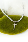 "Hope 17.5-19.5"" Fine Silver Cross Pearl Necklace"