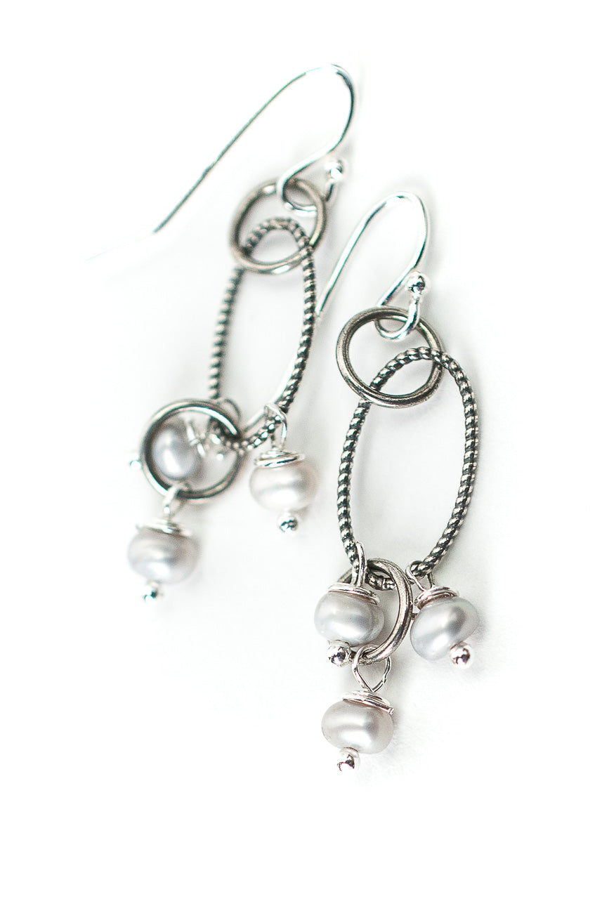 Hope Silver Chain Pearl Cluster Earrings