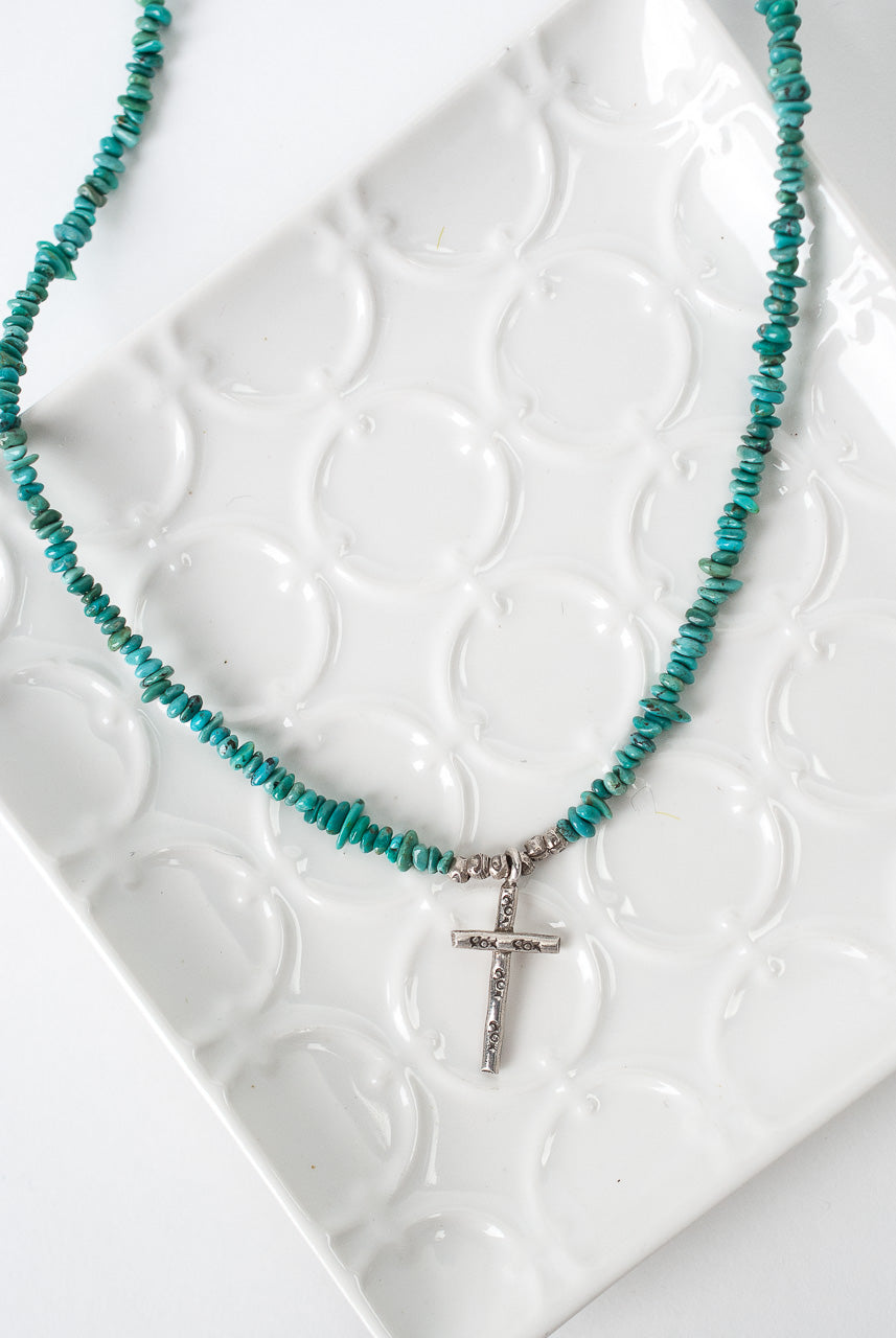 "Hope 17-19"" Fine Silver Cross Turquoise Necklace"