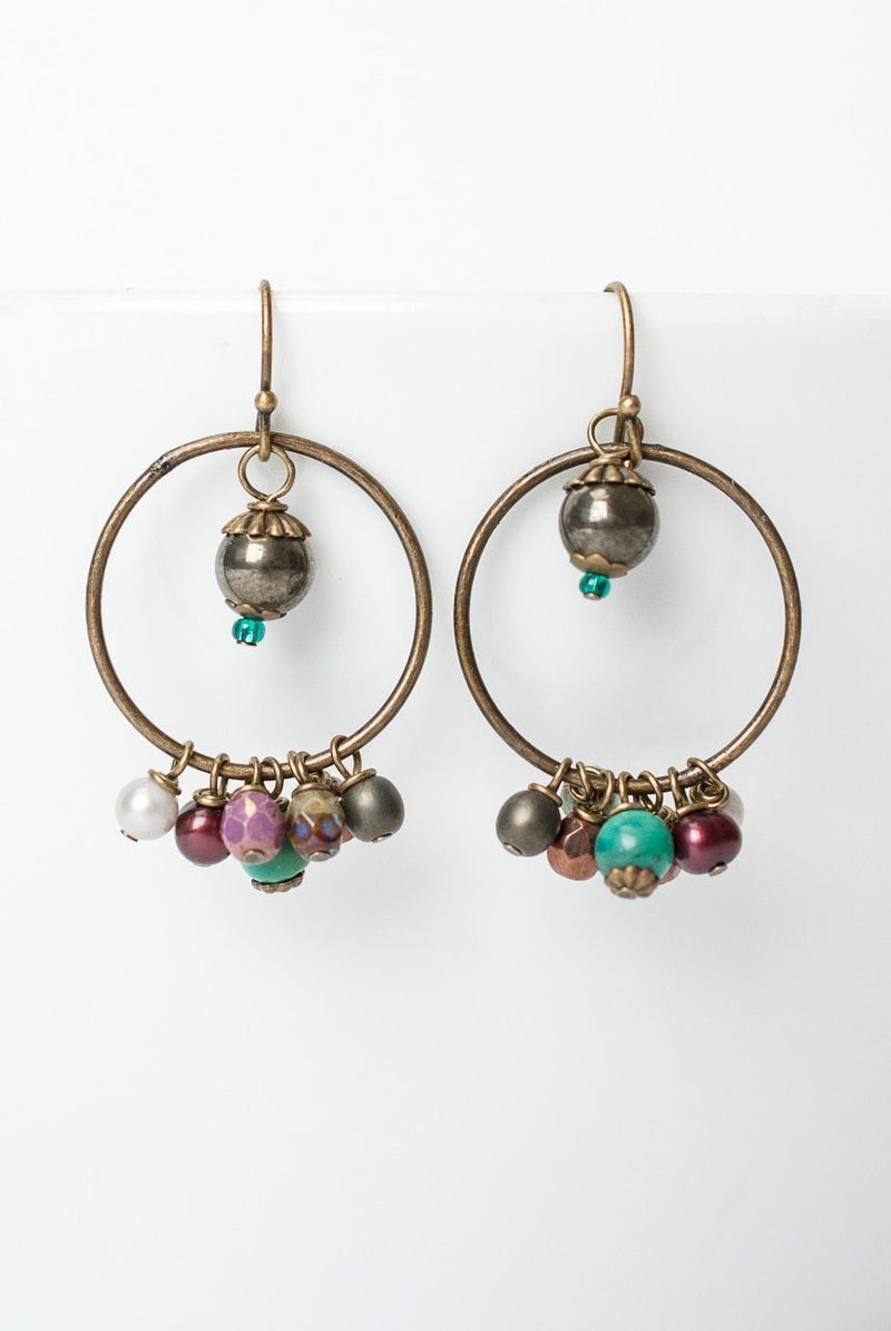 Eat Love Pray Hoop Cluster Earrings