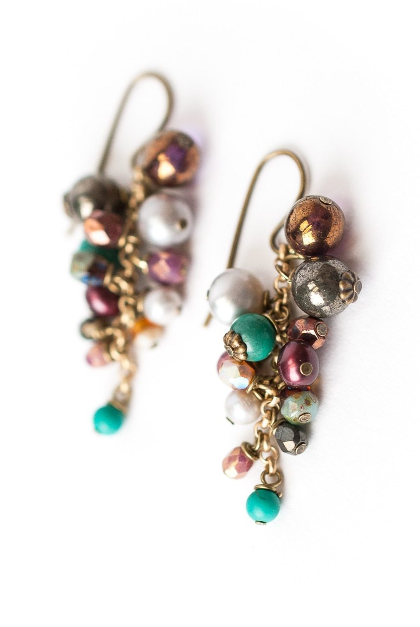 Eat Love Pray Gemstone Cluster Cascade Earrings