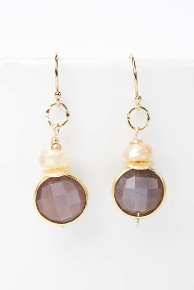 Enchantment Peach Moonstone Faceted Bezel Earrings