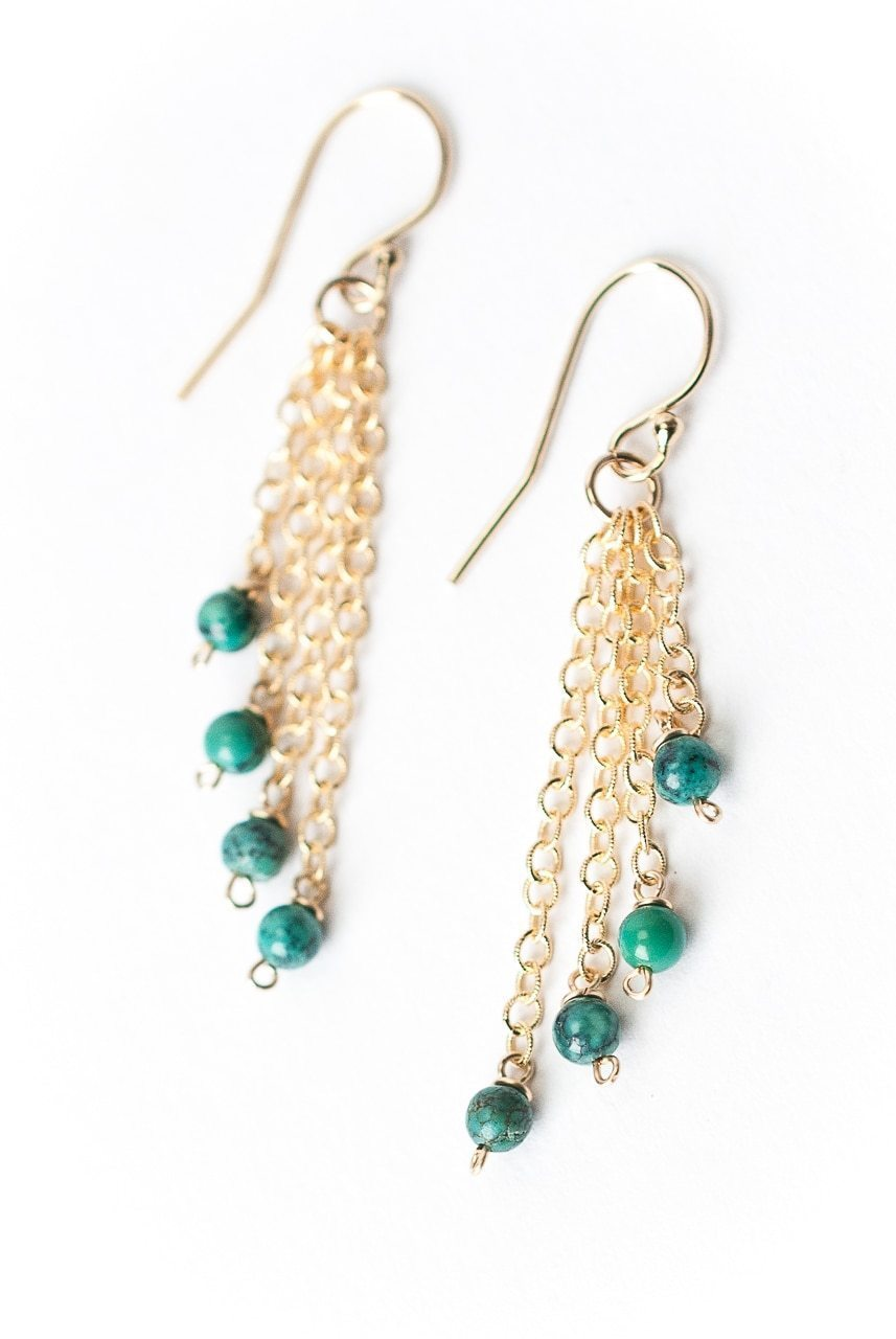 Envy Simple Turquoise Tassel Earrings
