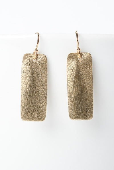 Envy Matte Gold Plated Rectangle Earrings