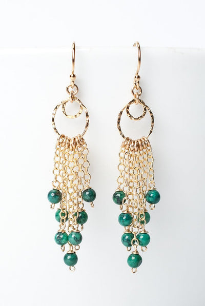 Envy Turquoise Gold Tassel Earrings