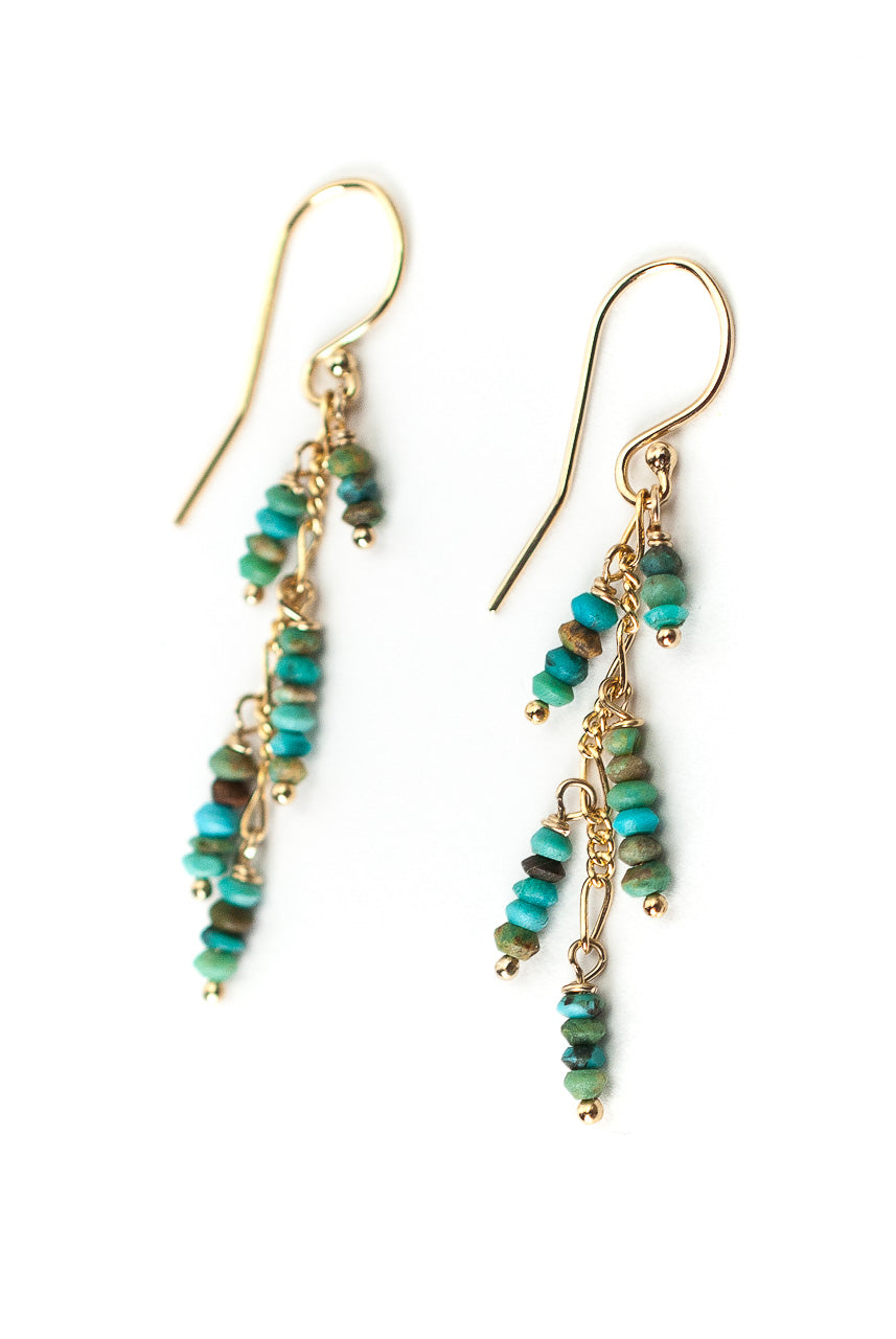 Envy Turquoise Cascading Tassel Earrings