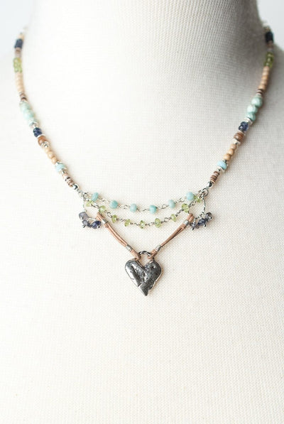 "Fresh Air 15.5-17.5"" Silver Heart Collage Focal Necklace"