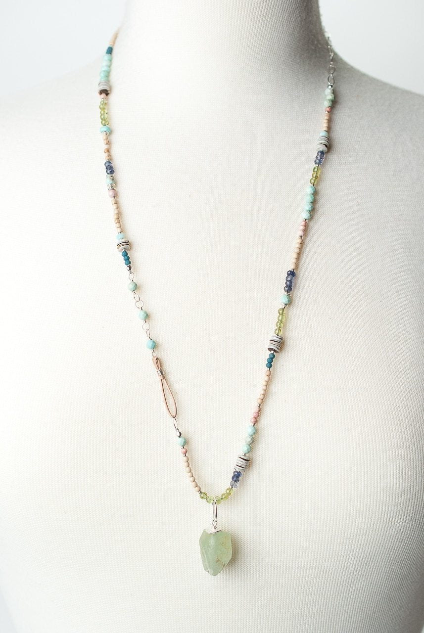"Fresh Air 28.5-30.5"" Gemstone Collage Fluorite Focal Necklace"