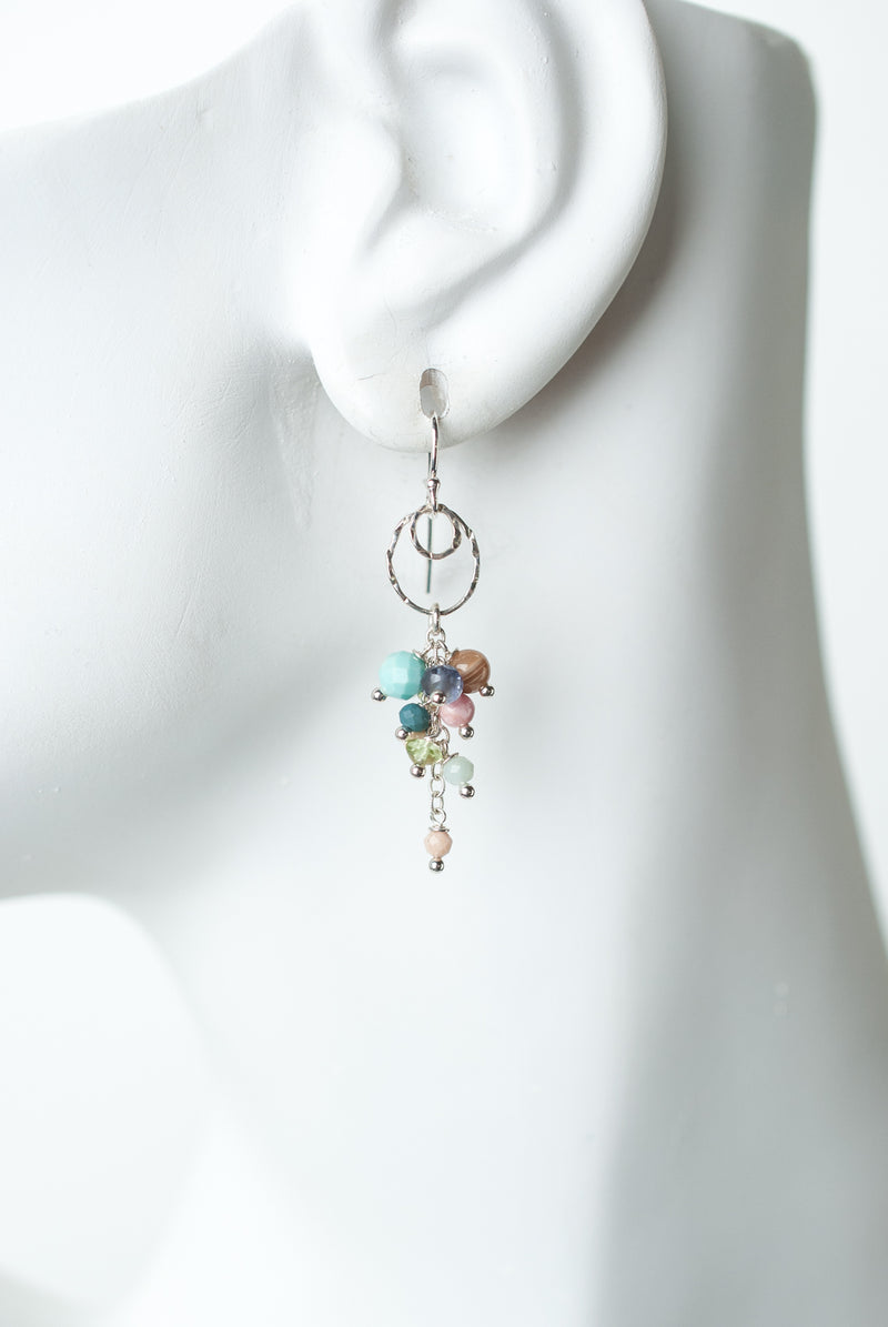 Fresh Air Gemstone Cascading Cluster Earrings