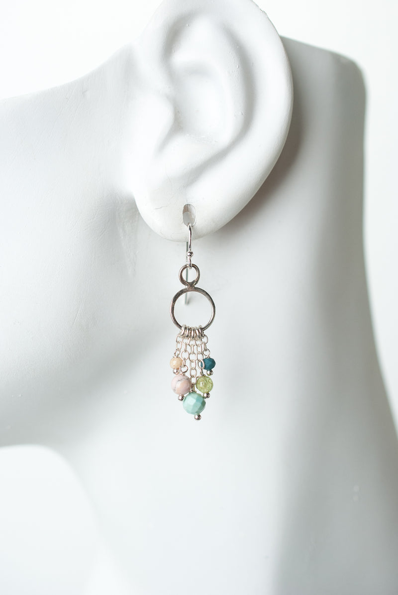 Fresh Air Gemstone Tassel Hoop Earrings