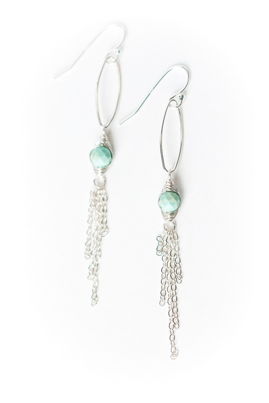Fresh Air Chalk Turquoise Silver Tassel Earrings