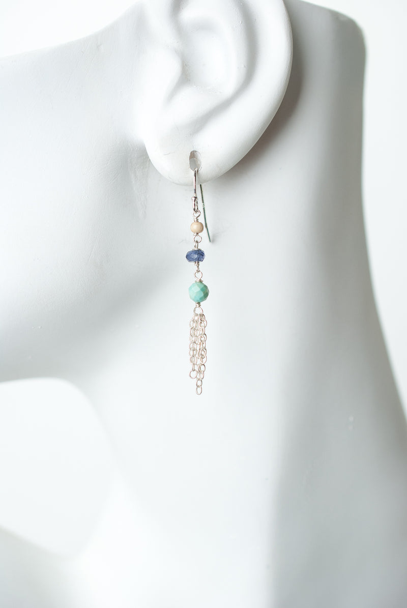 Fresh Air Gemstone Silver Tassel Earrings
