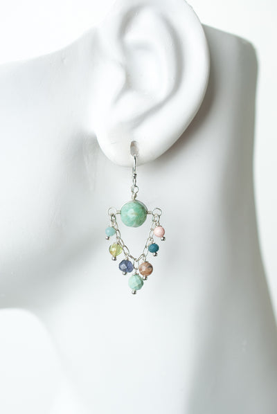 Fresh Air Gemstone Chandelier Hoop Earrings