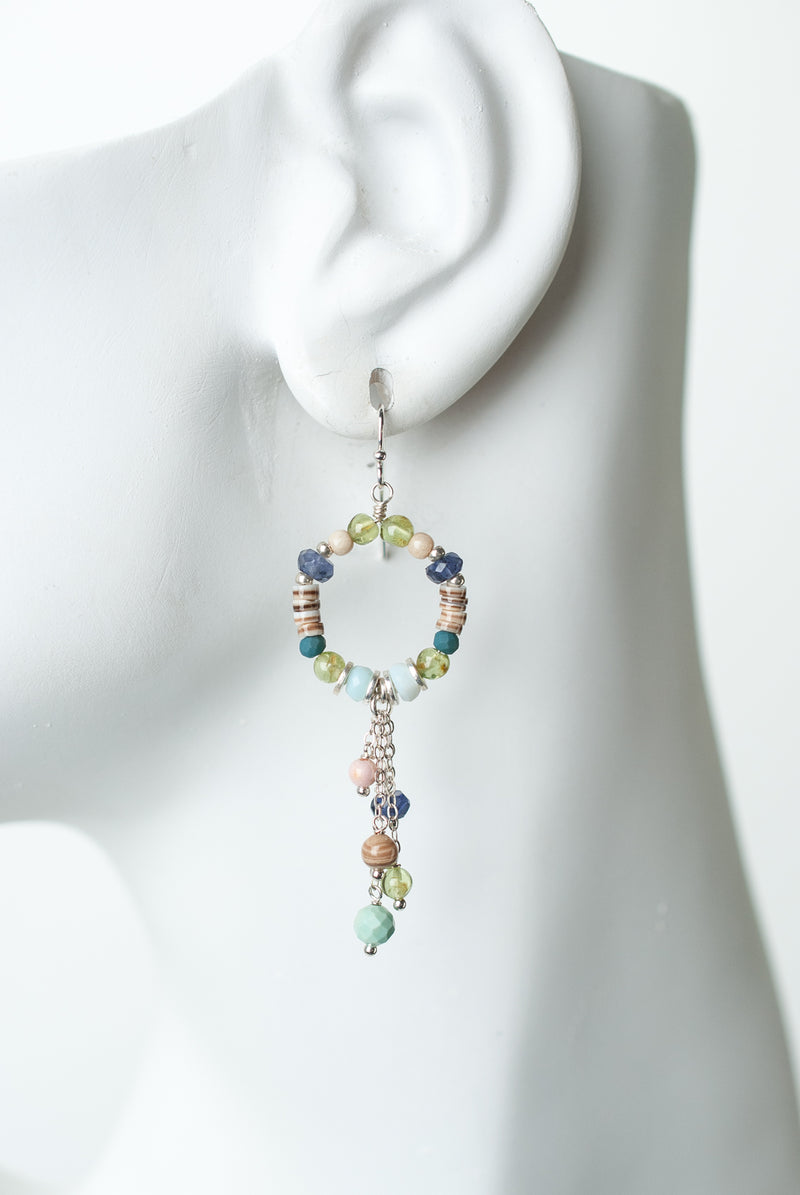 Fresh Air Gemstone Hoop Tassel Earrings