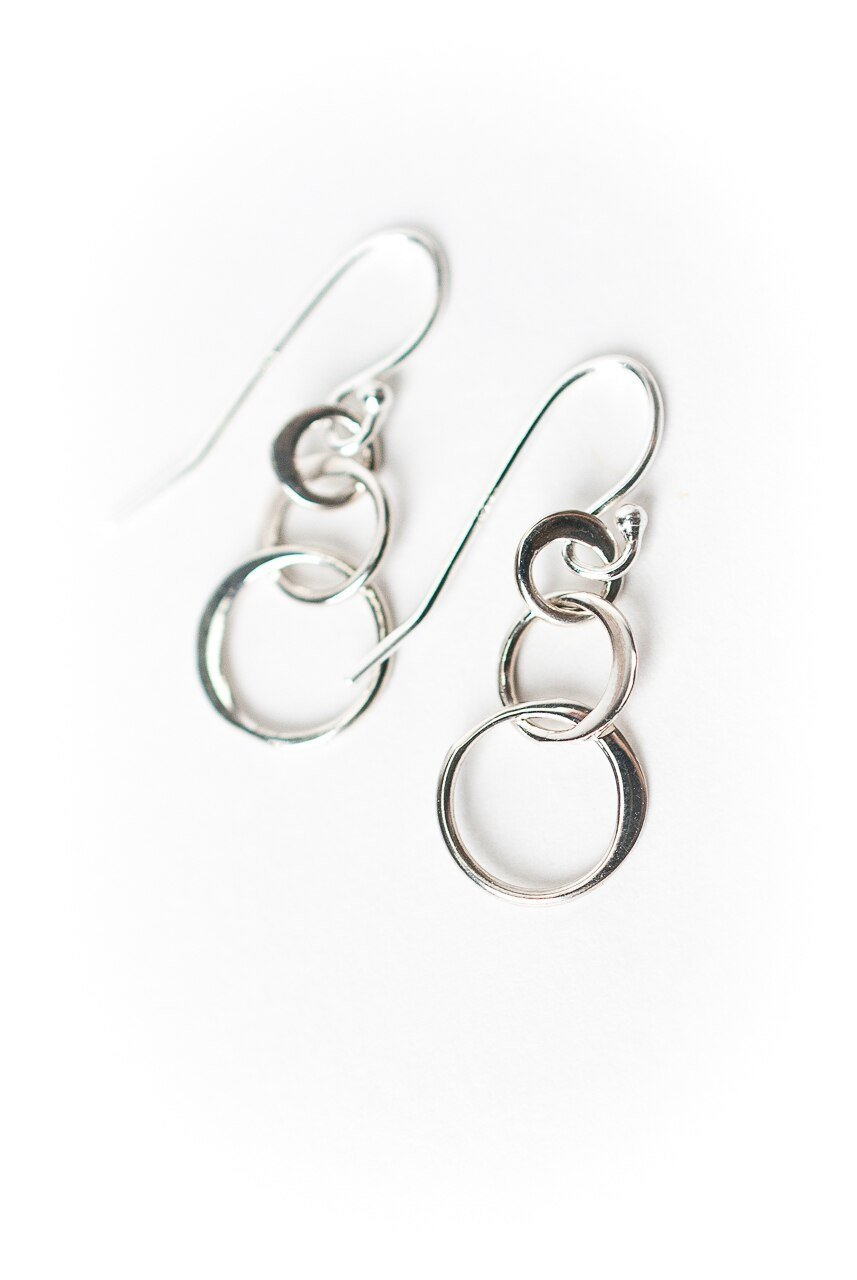 Fresh Air Sterling Silver Tripple Circle Earrings