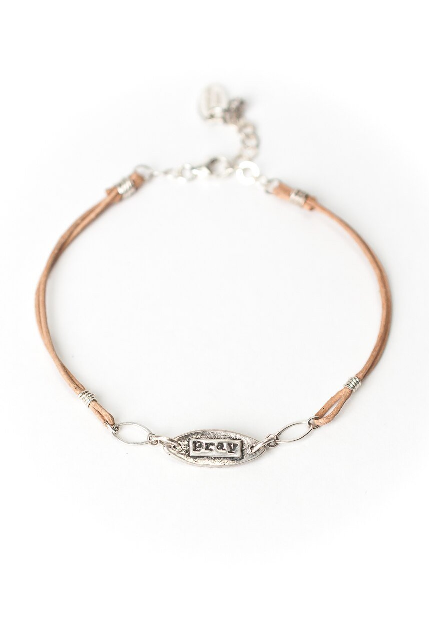 "Fresh Air 7.5-8.5"" Leather Prey Charm Bracelet"