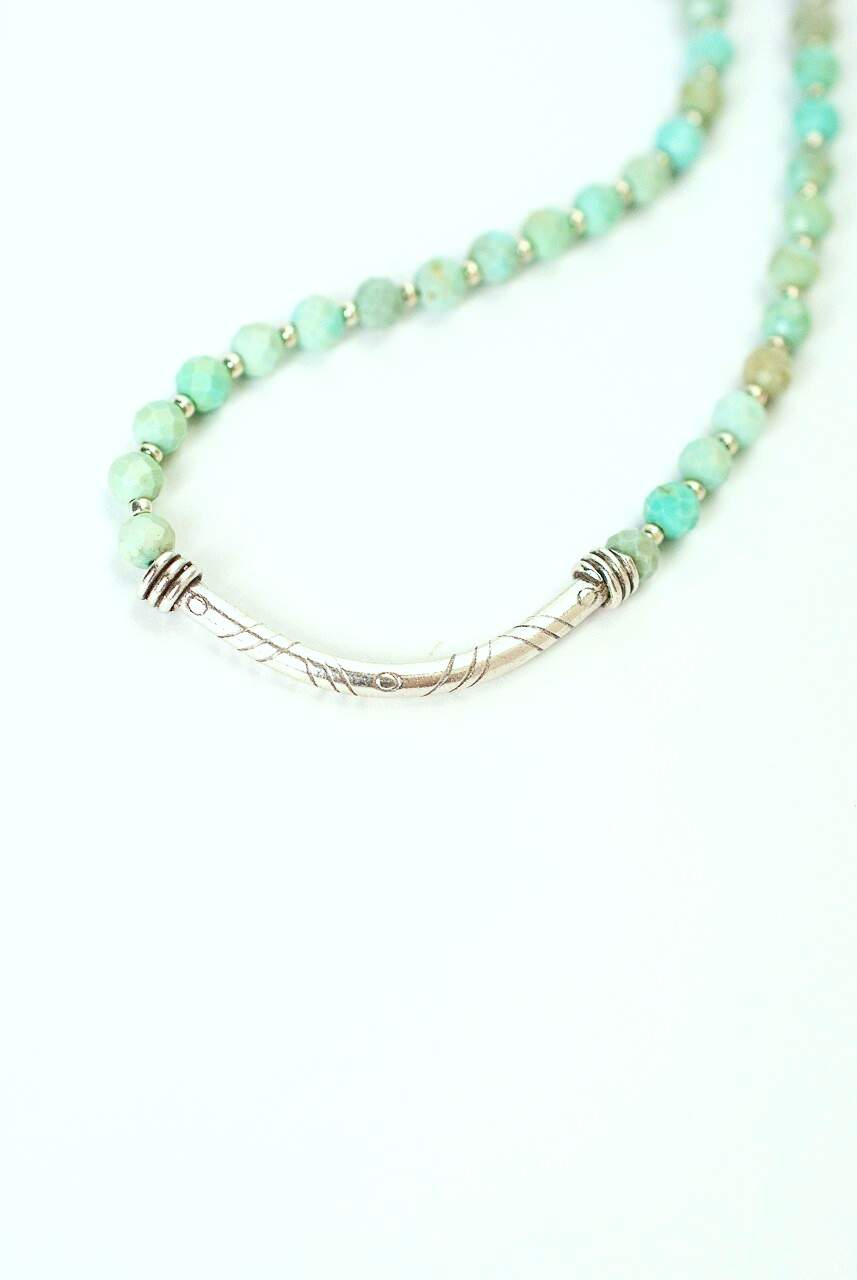 "Fresh Air 17.5-19.5"" Chalk Turquoise Silver Bar Focal Necklace"