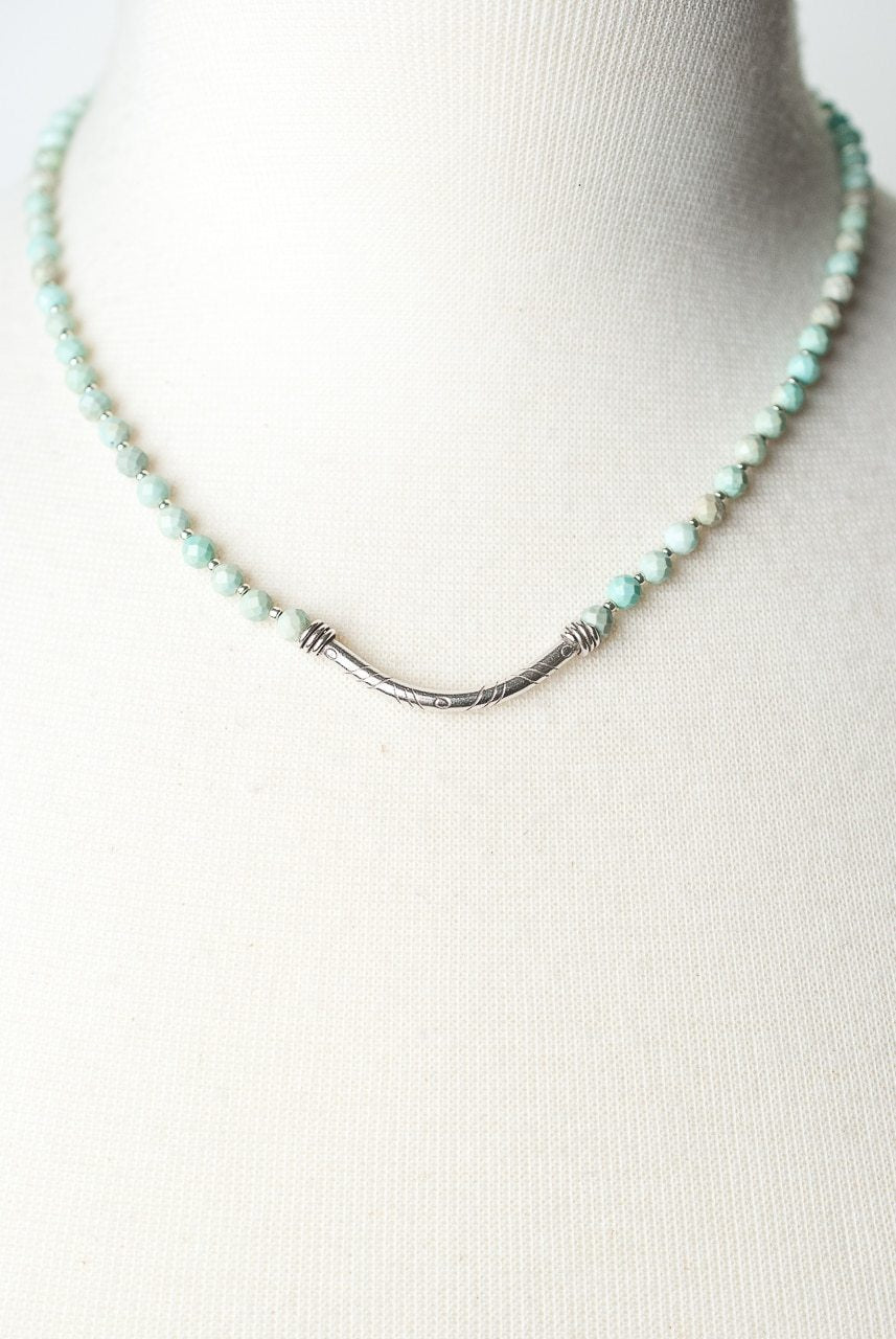 "Fresh Air 16.75-18.75"" Chalk Turquoise Silver Bar Focal Necklace"