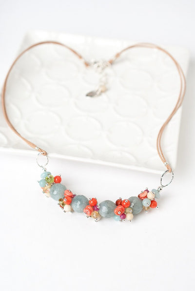 "Free Spirit 16.5-18.5"" Leather Gemstone Cluster Necklace"