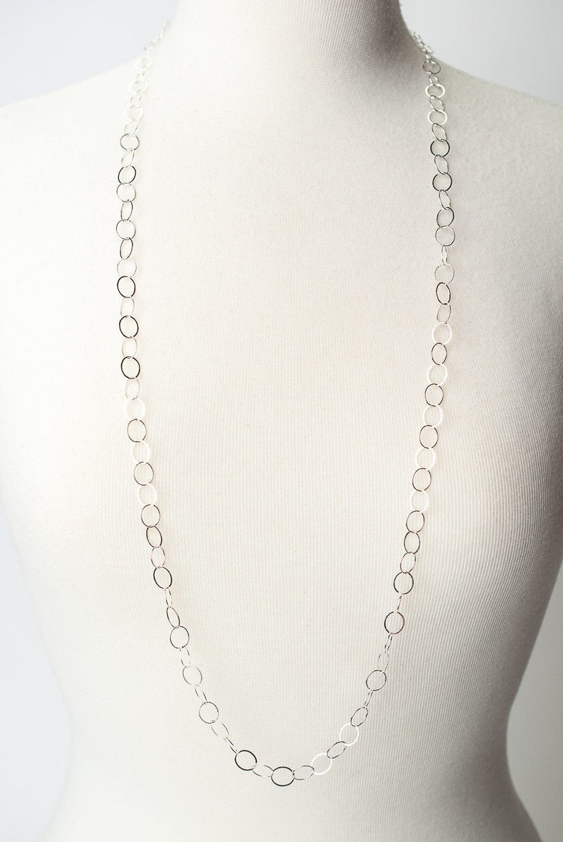 "Free Spirit 38.5"" Simple Silver Layer Necklace"