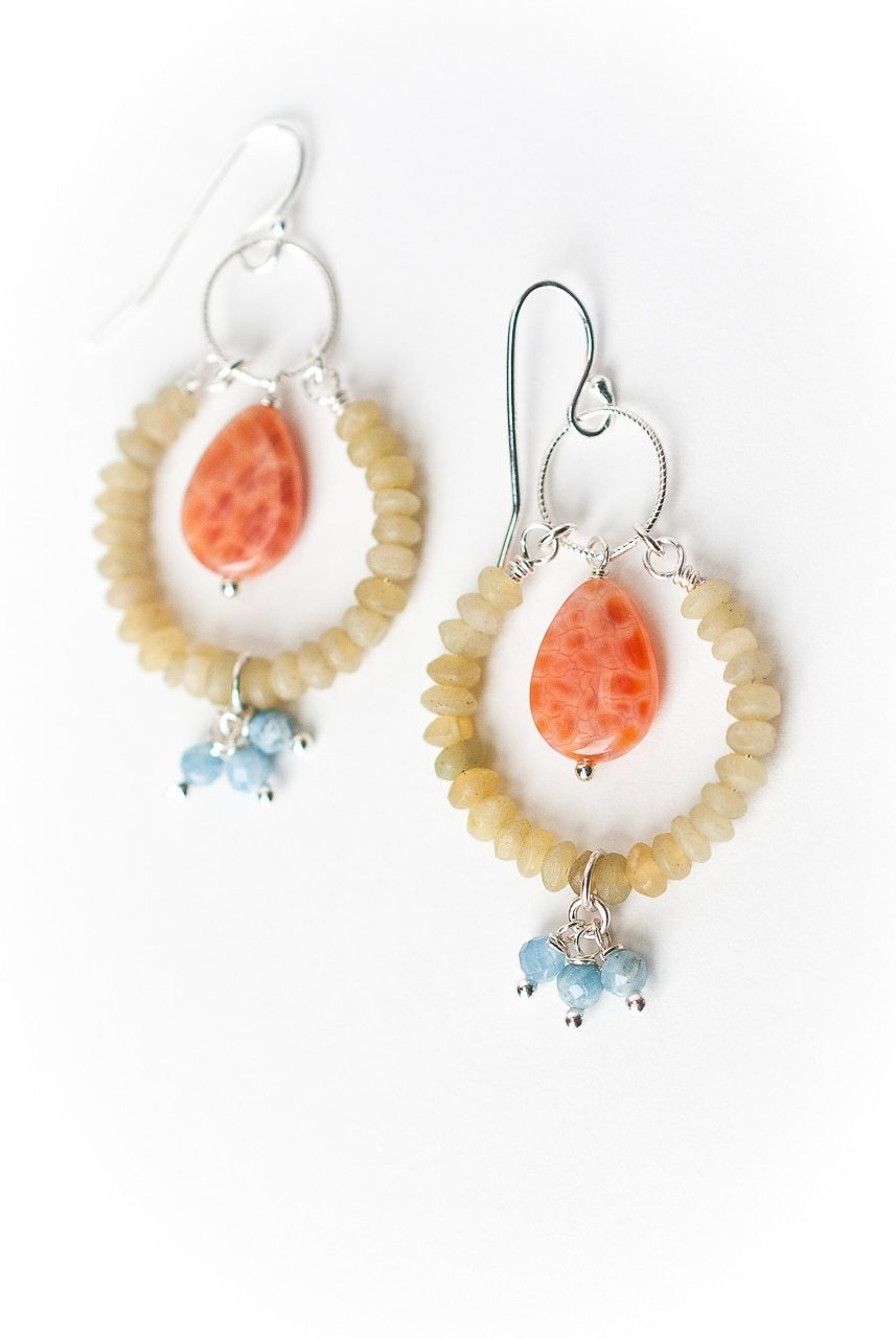 Free Spirit Fire Agate Hoop Earrings