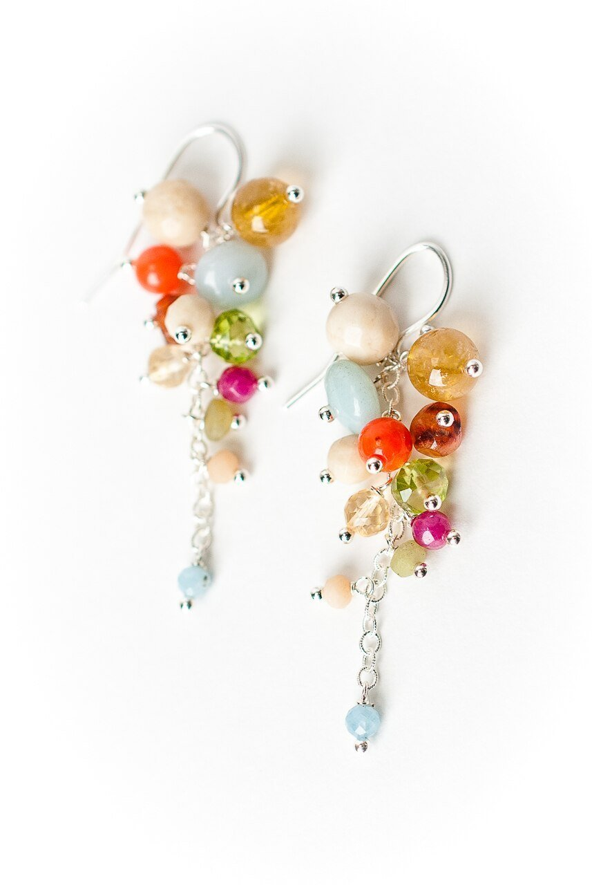 Free Spirit Gemstone Cascading Cluster Earrings